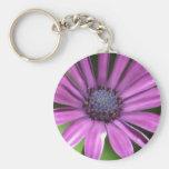 Round Keychain - Purple Flower