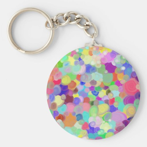 round keychain with tempera paints