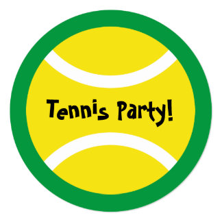 Round kids tennis theme Birthday party invitations