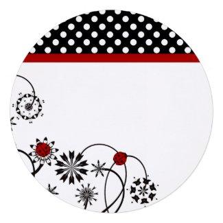 Round Ladybug Party Invitations
