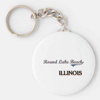 Round Lake Beach Illinois City Classic Basic Round Button Keychain