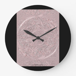 Round (Large) Wall Clock. Pink and Black Large Clock
