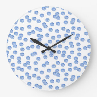 Round large wall clock with blue polka dots