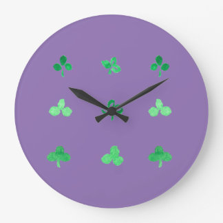Round large wall clock with nine clover leaves