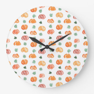 Round large wall clock with pumpkins and leaves