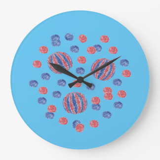 Round large wall clock with red-blue balls