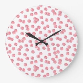 Round large wall clock with red polka dots