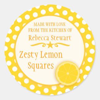Round lemon cookie exchange baking gift stickers
