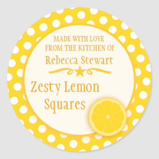 Round lemon cookie exchange baking gift stickers