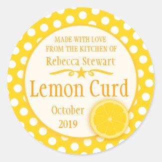 Round lemon curd baking label stickers