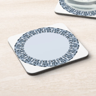 round light blue pattern beverage coaster