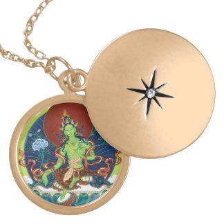 Round Locket Necklace - Green Tara - Gold Finish