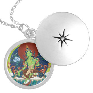 Round Locket Necklace - Green Tara - Silver Plated