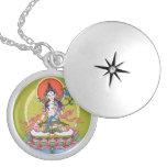 Round Locket Necklace - White Tara - Silver Plated