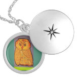 Round Locket, Silver Plated with Big Owl Locket Necklace