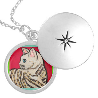 Round Locket, Silver Plated with Cute Kitten Silver Plated Necklace