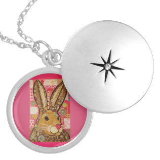 Round Locket, Silver Plated with Spring Rabbit