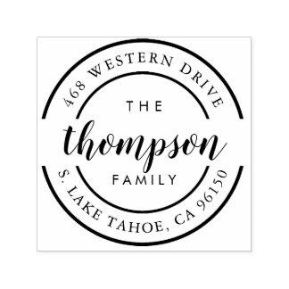 Round Logo | Family Name Return Address Self-inking Stamp