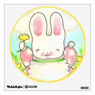 Round Love bunny wall decal