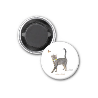 Round Magnet Featuring Tabatha, the Tabby
