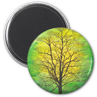 Round Magnet Green Tree