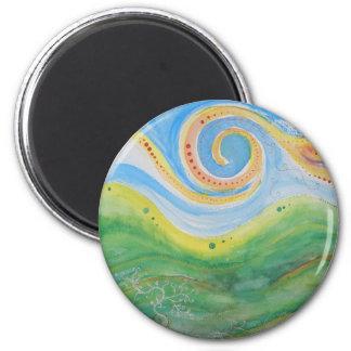 Round Magnet Swirly Sky Rolling Hills