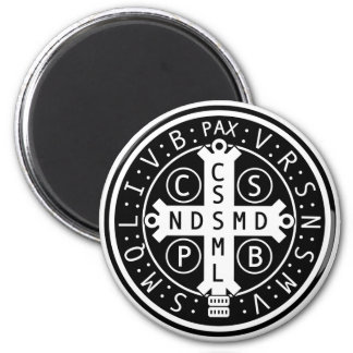 Round Magnet with Medal of St. Benedict, All sizes
