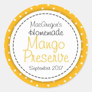 Round Mango preserve or jam jar food label