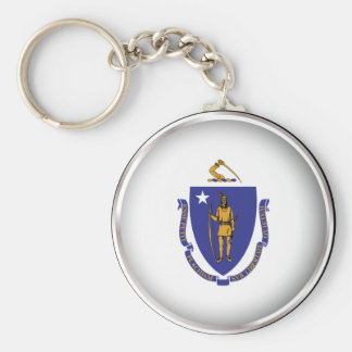 Round Massachusetts Keychain