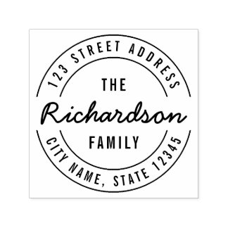 Round Modern Bold The Family Name Return Address Self-inking Stamp