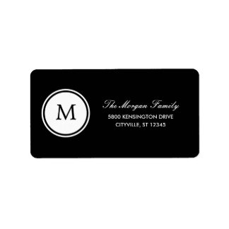 Round Monogram Address Labels Personalized Address Label