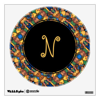 Round Monogram Modern Abstract Pattern Wall Decal