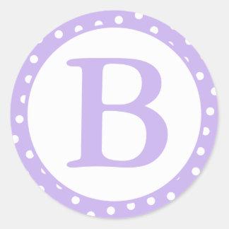 Round Monogrammed Purple & White Envelope Seals