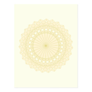 Round motif in cream color. postcard