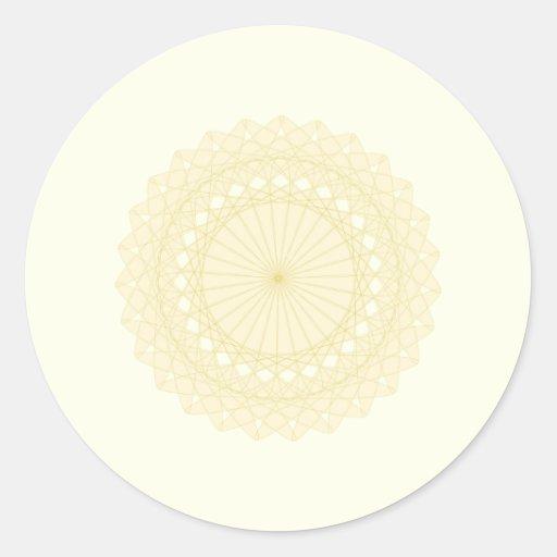 Round motif in cream color. round sticker