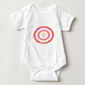 Round n Oval Pink Stained Glass Pattern Baby Bodysuit