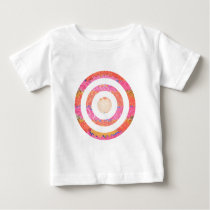 Round n Oval Pink Stained Glass Pattern Baby T-Shirt
