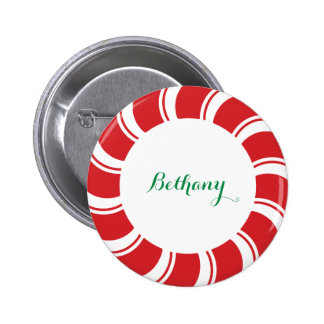 Round Name Badge Button Candy Cane Holiday Event