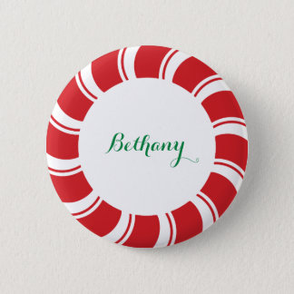 Round Name Badge Button Peppermint Candy Cane