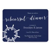 Round Nautical Navy Blue Wedding Rehearsal Invites