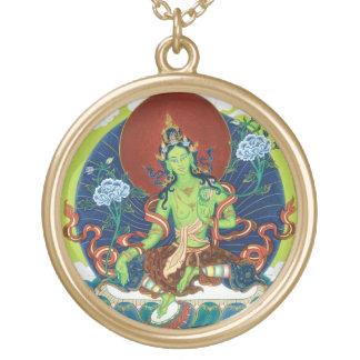 Round Necklace - Green Tara - Gold Finish