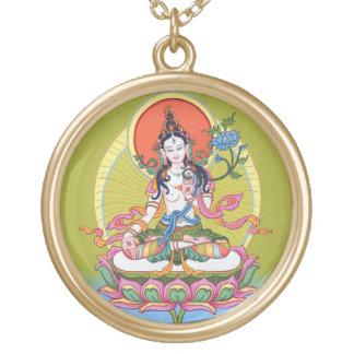Round Necklace - White Tara - Gold Finish