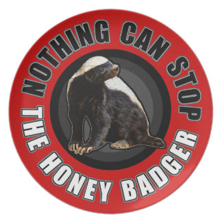 Round Nothing Can STOP the Honey Badger Design Melamine Plate