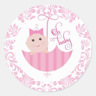 Round Oh Baby Shower umberella Sticker
