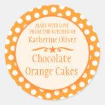 Round orange cookie exchange baking gift stickers