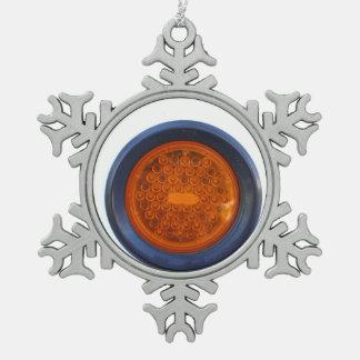 round orange taillight auto part snowflake pewter christmas ornament
