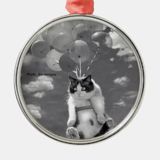 Round Ornament: Funny cat flying with Balloons Metal Ornament