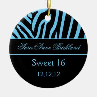 Round Ornament Light Blue Black Zebra Sweet 16