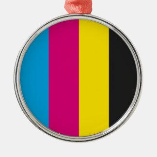 Round ornament metal CMYK stripes