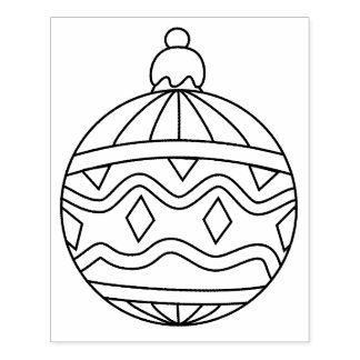 Round Ornament Shape Rubber Stamp